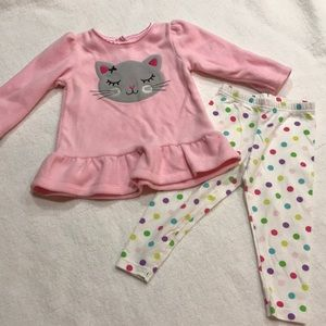 Carter's baby girls fleece top leggings set 12 mo